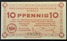 Billet 10 Pfennig LAGERGELD MONNAIE DE CAMP PRISONNIER DE GUERRE Kriegsgefangenenlager MINDEN 1917 - Andere