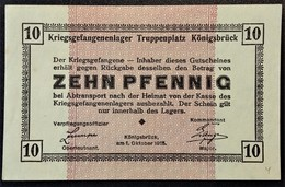 Billet 10 Pfennig LAGERGELD MONNAIE DE CAMP PRISONNIER DE GUERRE Kriegsgefangenenlager KÖNIGSBRÜCK - Altri