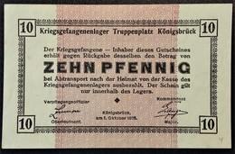 Billet 10 Pfennig LAGERGELD MONNAIE DE CAMP PRISONNIER DE GUERRE Kriegsgefangenenlager KÖNIGSBRÜCK - Autres
