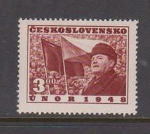 Czechoslovakia Scott 372 1949 1st Anniversary Gottwald Speech, Mint Hinged - Czechoslovakia