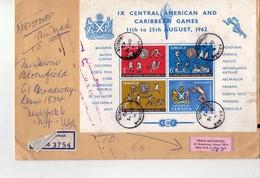 Jamaïque 1962-Cyclisme,football,boxe,sports Nautiques,..-Jeux Des Caraïbe-Bloc Sur Lettre Recommandée Envoyée Vers USA - Timbres