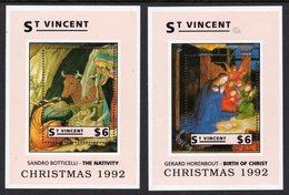 ST VINCENT - 1992 CHRISTMAS $6 MINIATURE SHEETS (2) BY BOTTICELLI & HORENBOUT FINE MNH ** SG MS2004a, MS2004b - St.Vincent (1979-...)