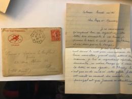 Lettre Avec Correspondance à En-tête Du 152e Régiment D'Infanterie De Colmar En 1927 - Cachet Postal Saint Juan (Doubs) - Manuscrits