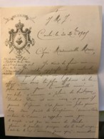 CONLIE - Lettre Manuscrite Du Vicaire Gervais Vannier Datée De 1905 à En-tête De L'écusson Fixé à L'autel Du Sacré Coeur - Manuskripte