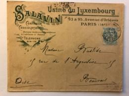 Belle Enveloppe De 1905 à En-tête Du Chocolatier Confiseur Salavin à Paris Usine Du Luxembourg 93 Av D'Orléans - France