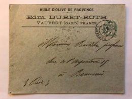 Belle Enveloppe De 1905 à En-tête De Huile D'Olive De Provence Duret-Roth à Vauvert (Gard) - France
