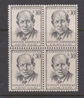Czechoslovakia Scott 676 1954 Pres. Antonin Zapotocky 30h Block 4, Mint Never Hinged - Czechoslovakia