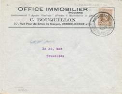404/28 -- Lettre Publicitaire TP Houyoux MIDDELKERKE 1927 - Office Immobilier C. Bouquillon - 1922-1927 Houyoux