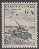 Czechoslovakia Scott 722 1955 Army Day 60h Slate, Mint Never Hinged - Czechoslovakia