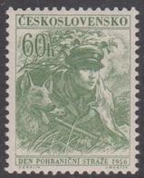 Czechoslovakia Scott 762 1956 Frontier Guard 60h Green Guard And Dog, Mint Never Hinged - Czechoslovakia