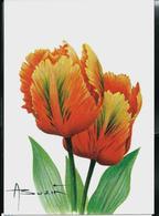"CM Du N° 3723 (Fleurs)  Tulipa ""Orange Favourite""  Carte Blanco - 1985-.. Oiseaux (Buzin)"