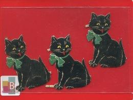 LB Germany  Chromos Decoupis Gaufrés 3 Chat Noir Noeud Papillon Rouge Ou Vert Yeux Jaunes Ou Verts  6 Cm Haut - Animals