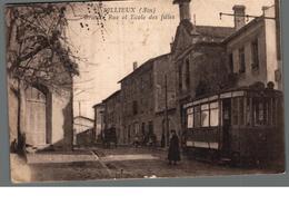 Cpa 01 Rillieux Ain Grande Rue Et Ecole Des Filles Tram Tramway...déstockage à Saisir - Other Municipalities