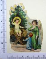 CHROMO    .DECOUPI...GAUFRES...ANGE ET ENFANT ADORANT JÉSUS A LA CRÈCHE - Motif 'Noel'