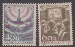 Czechoslovakia Scott 825-826 1957 Television, Mint Never Hinged - Czechoslovakia