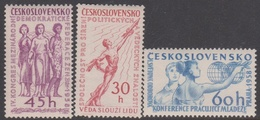 Czechoslovakia Scott 856-858 1958 Cultural And Political Events, Mint Never Hinged - Czechoslovakia