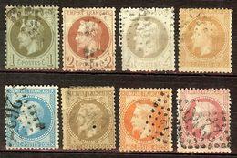 JOLIE SERIE NAPOLEON N°25 à 32 NUANCES & CACHETS à Voir Cote 200 Euro - 1863-1870 Napoléon III Lauré