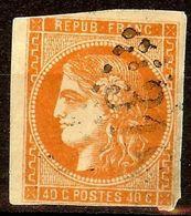 EXTRA BORDEAUX N°48a 80c Orange Vif Oblitéré Losange GC Cote 250€ PAS D'AMINCI - 1870 Bordeaux Printing