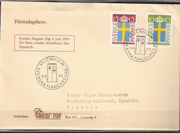 Sweden 1955 Flag Day - 50 Years National Flag Mi 404-405, FDC - Schweden