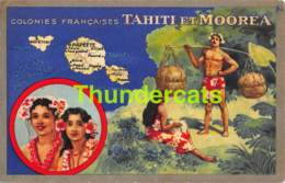 CPA COLONIES FRANCAISES TAHITI ET MOOREA LION NOIR CHIMIQUES - Tahiti