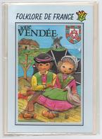 85 VENDEE - Edts Folklore De France - Blason Coeur Vendéen Couple Maraichins Gois Bourrine Moulin Canard Brioche Sabots - Tarjetas De Fantasía