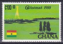 Ghana 1988 Religion Christentum Weihnachten Christmas Kunst Arts Gemälde Paintings Fahnen Flaggen Flags, Mi. 1218 ** - Ghana (1957-...)