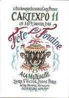 BOURSE SALON DE COLLECTIONS CARTEXPO 11 1988 PARIS 75 SEINE FÊTE FORAINE MANÈGE ILLUSTRATEUR DECARIS - Bourses & Salons De Collections