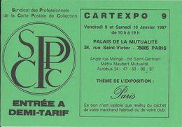 BOURSE SALON DE COLLECTIONS CARTEXPO 9  1987 FLYER ENTREE DEMI-TARIF - Bourses & Salons De Collections