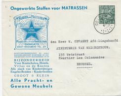 412/28 -- Lettre Illustrée TP Exportation OOIGEM 1950 - Fabriek Van Matrassen De Ster , Bedden , Meubels,Kinderrijtuigen - 1948 Export