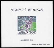 MONACO BLOCS  FEUILLETS  SPECIAUX  FOOTBALL JEUX OLYMPIQUES DE BARCELONE 1992 N°18a NON DENTELE   NEUF ** LUXE - Blocs