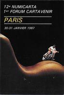 BOURSE SALON DE COLLECTIONS NUMICARTA 12 1987 ILLUSTRATEUR PASTOR MOTOCYCLISTE SUR CORPS FEMME FESSES - Bourses & Salons De Collections