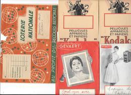 5 Pochettes De Photo Anciennes - GEVAERT - DALIDA - KODAKS - LOTERIE NATIONALE, SECOURS, Datant Des Années 40 - Autres