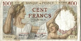 BILLET FRANCE 100 FRANCS DE 1942 - 1871-1952 Anciens Francs Circulés Au XXème