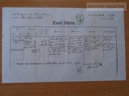 ZA174.9  Old Document - Czechia - Prag Prague Praha  - Smíchov - 1871  -Raus - Jankovsky - Naissance & Baptême