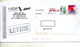 Pap Carte Rouge Flamme Chiffree Entete Coop Alsace Theme Cogogne - Postal Stamped Stationery