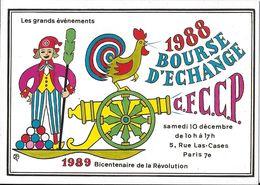 BOURSE SALON DE COLLECTIONS 1988 / 1989  BOURSE D'ÉCHANGE PARIS  ILLUSTRATEUR THINLOT BICENTENAIRE DE LA RÉVOLUTION CIM - Bourses & Salons De Collections