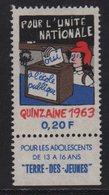 Vignette - Pour L Unite Nationale A L Ecole Publique - 1963 - Commemorative Labels