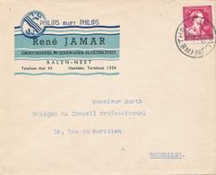 """416/28 -- BELGIQUE PHILIPS - Lettre Illustrée BALEN NETHE 1946 - Elektricité Jamar """" Philips Reste Philips"""" - Timbres"""