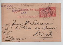 PR6264/ South Africa Zuid Afrik.Republ.Johannesburg&Pretoria 1894-97 To Belgium Liège Arrival Cancellation Slightly Bent - New Republic (1886-1887)
