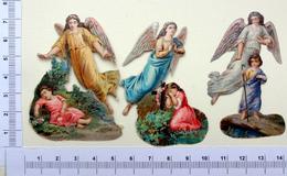 3 CHROMOS .DECOUPIS.......SUJET RELIGIEUX...ENFANTS AVEC LEUR ANGE GARDIEN - Angeles