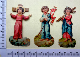 3 CHROMOS .DECOUPIS.......SUJET RELIGIEUX...JESUS AVEC UNE CROIX...BANI7RE ...AGNEAU - Découpis