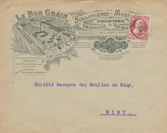 420/28 -- BELGIQUE BRASSERIE - Lettre Illustrée MARIEMONT 1909 - Le Bon Grain , Brasserie , Boulangerie , Biscuiterie - Bières