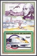 Guinea 1992 Transport Verkehr Eisenbahnen Railways Lokomotiven Trains Infrastruktur Eurotunnel TMST, Bl. 421 ** - Guinea (1958-...)