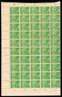 JAPANESE OCCUPATION OF MALAYSIA - 1943 COMPLETE SHEET (FOLDED) OF 100 2c PALE EMERALD FINE MNH ** SG J298 X 100 (2 PICS) - Ocupacion Japonesa