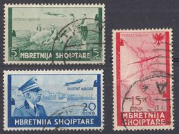 ALBANIA - 1940 - Tre Valori Usati Posta Aerea: Yvert 37/39. - Albania