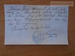 ZA176.5  Old Document Hungary  Budapest   1873 - Johann FREY  Alt-Verbász   Врбас Vrbas Werbass - Wedding