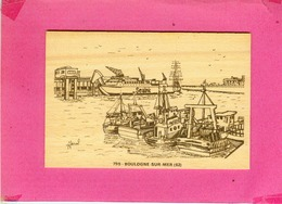 CARTE POSTALE  EN  BOIS.  62.  BOULOGNE  SUR  MER.  LE  PORT BATEAUX DE PECHE  LE FERRY  SEALINK.  CARTE  NEUVE - Boulogne Sur Mer