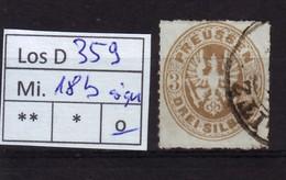 Los D359: Preußen Mi. 18 B, Gest., Sign. - Prusse