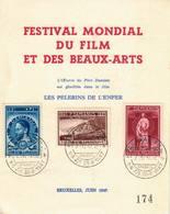 Belgique:Père Damien, Festival Du Film Et Des Beaux-arts Juin 1947 COB N° 728/30 - Cartes Souvenir