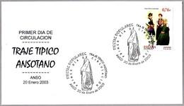 TRAJE TIPICO ANSOTANO - TIPICAL COSTUME ANSOTANO. SPD/FDC Anso, Huesca, Aragon, 2003 - Textiles